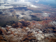 An aerial view of The Grand Canyon taken from an airplane over the Grand Canyon in Arizona.