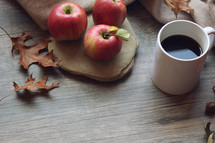 apples and coffee cup