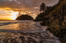 Trinidad beach at sunset