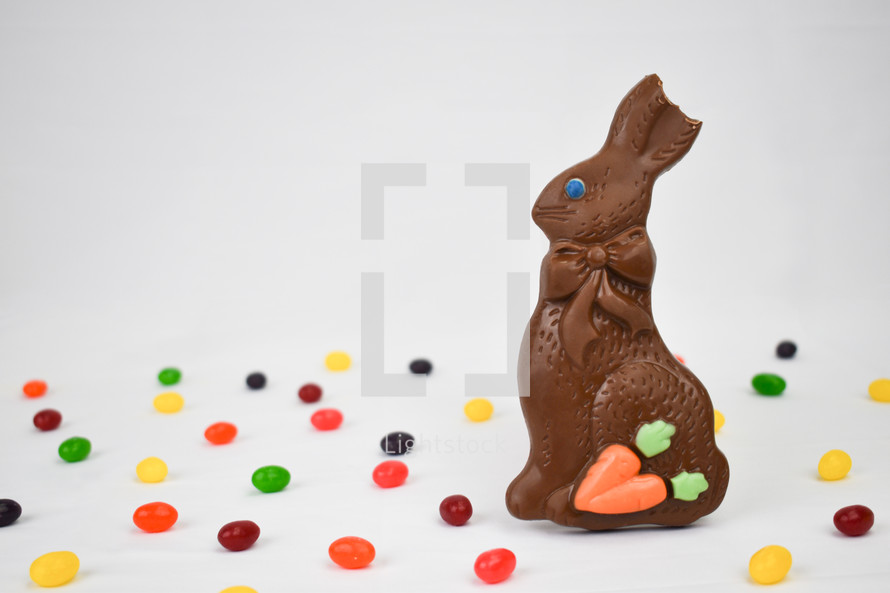 Chocolate Easter Bunny with Jelly Beans