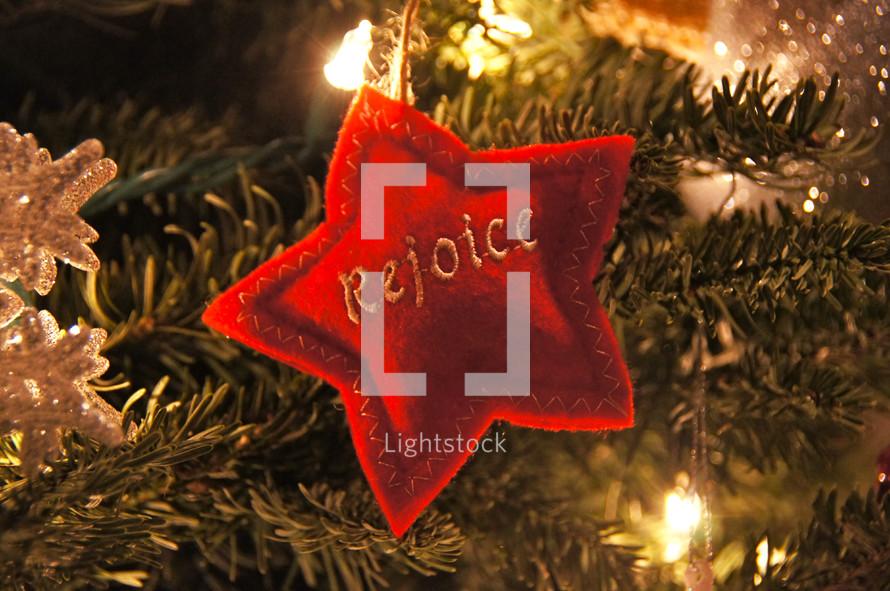 Rejoice star Christmas ornament