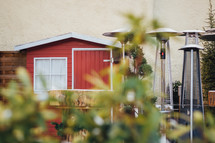 patio heater and red barn