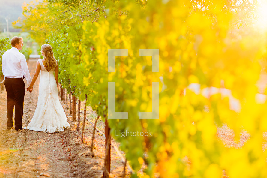 Bride and groom outdoors walking thru a vineyard napa valley love romance marriage wedding holding hands man woman