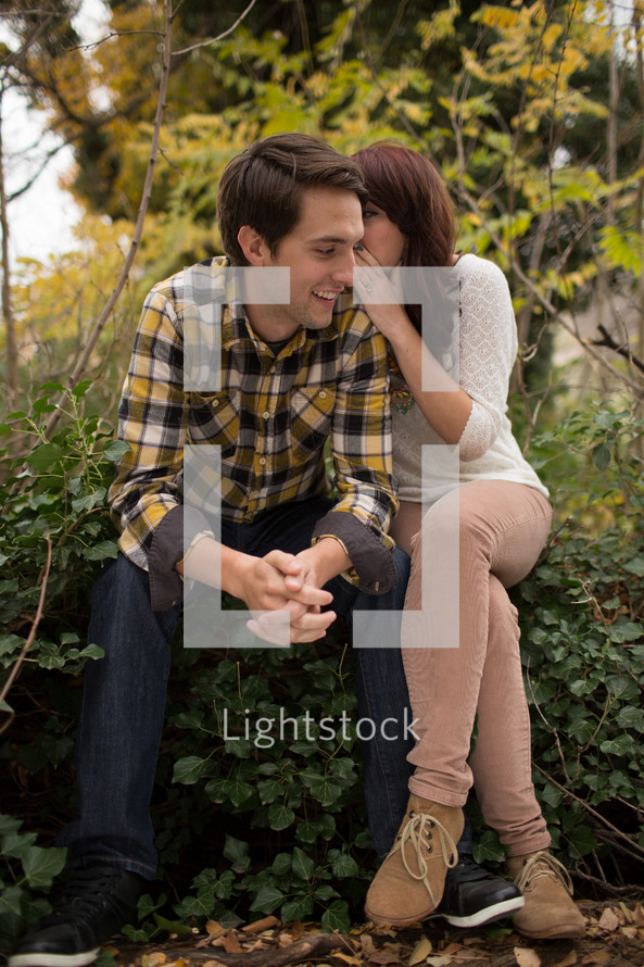 Couple sitting in a park