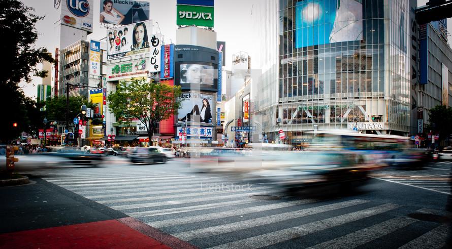 cars and traffic through crosswalks