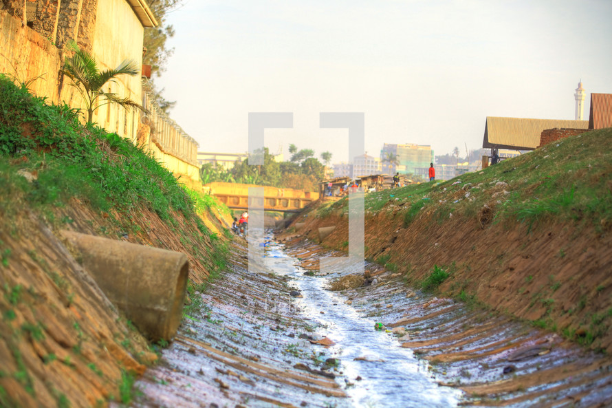 water in a drainage ditch