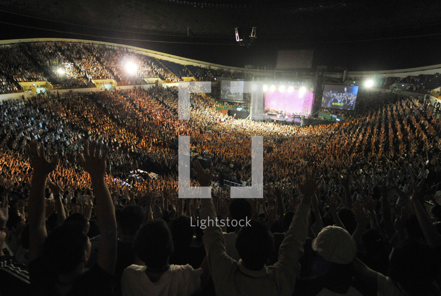 large group worship service in a stadium