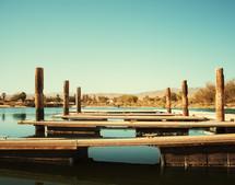 boat slips along boat dock in a marina