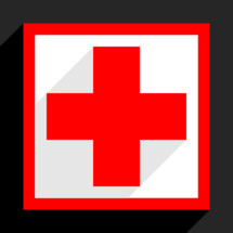 Red cross sign in border with shadow on gray background created in simply trendy flat style. First Aid Symbol or The Red Cross symbol. Red medical sign in square frame isolated on background. The graphic element for design saved as a vector illustration in the EPS file format.