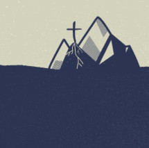 cross rooted on a mountain