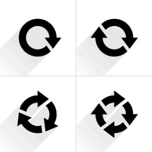 Reload icons, refresh arrow, rotation sign, cycle pictogram. Graphic element for design saved as an vector illustration in file format EPS