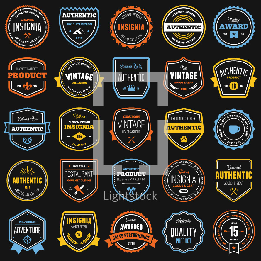 Set of various badges and labels
