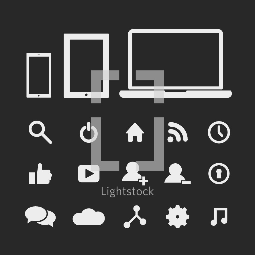 Social media and technology icon set.
