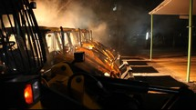 construction equipment at night