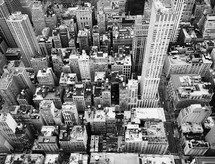 aerial view, skyscrapers, over, NYC, buildings, city, cityscape, skyline