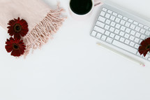 computer keyboard, border, desk, scarf, winter, pink, blush, red, gerber daisies, flowers, pencil, home office, workspace, feminine, white background