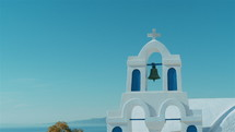 Traditional Cycladic Mediterranean Church with a View to the Sea