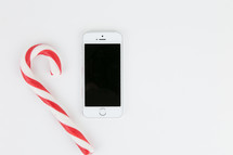 candy cane and iPhone