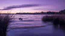 Ocean bay at dusk.