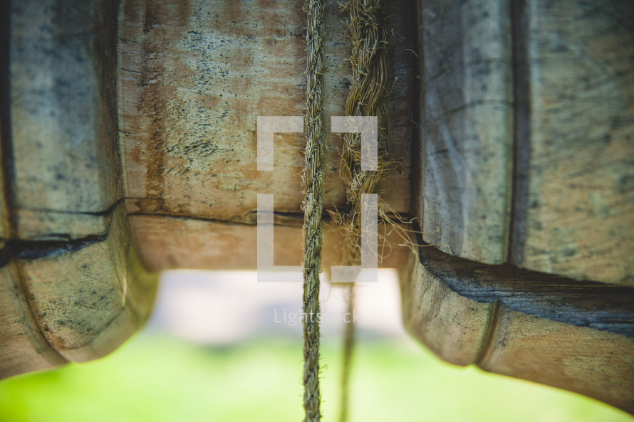 rope on a pulley in a well