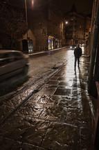 damp sidewalks and streets in Scotland