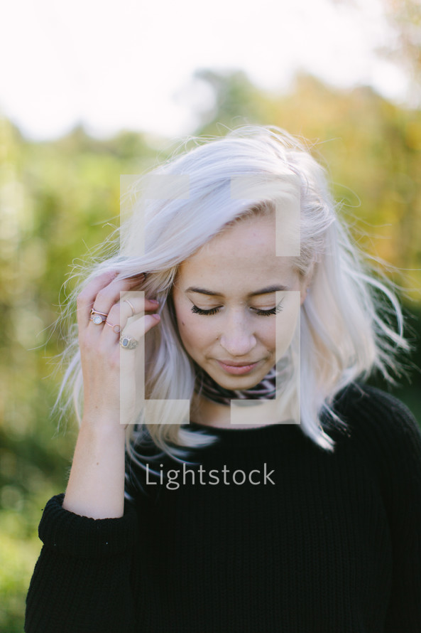 a woman looking down