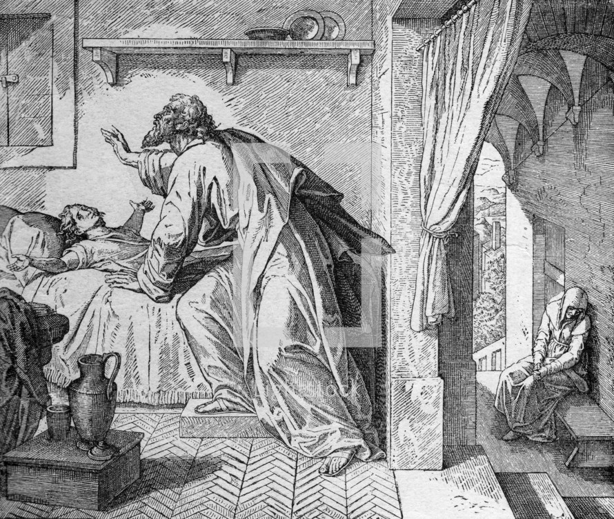 Elijah brings the widow's son back to life, 1 Kings 17: 21-22