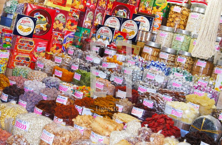 Vietnamese candy store, central market Ho Chi Minh City
