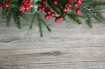 Christmas background with greenery