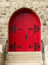 arched red door