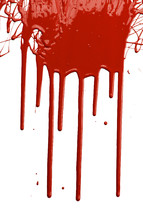 Red paint dripping down a white surface.