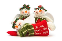 Angel snowmen with the words Jesus loves you snow much