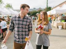 couple shopping in a flea market
