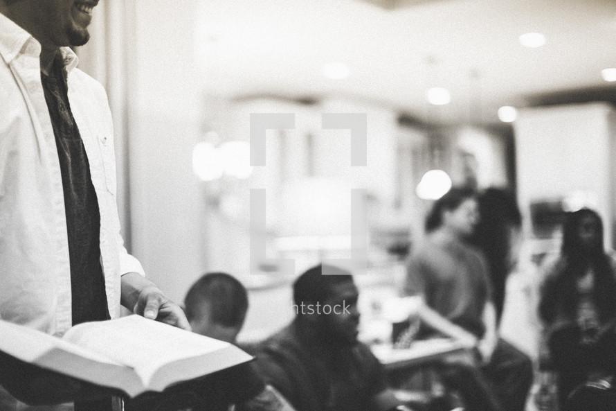 man leading a Bible study