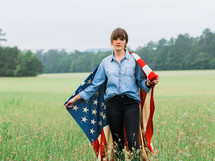 woman wearing an American flag