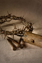 nails, wood, and crown of thorns