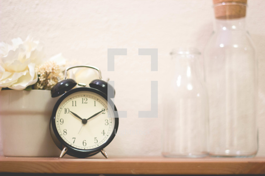 potted plant, alarm clock, and bottles on a shelf