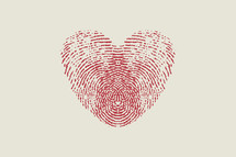 fingerprint heart red