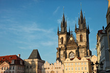 cathedral and row houses in Prague