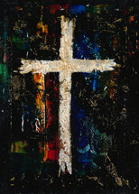 abstract art painting with white cross