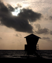 silhouette of a lifeguard stand