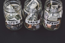 give, save, spend mason jars with money