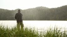 man flying fishing