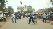 driving in a city in Kenya