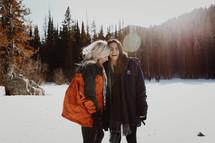 best friends outdoors in snow