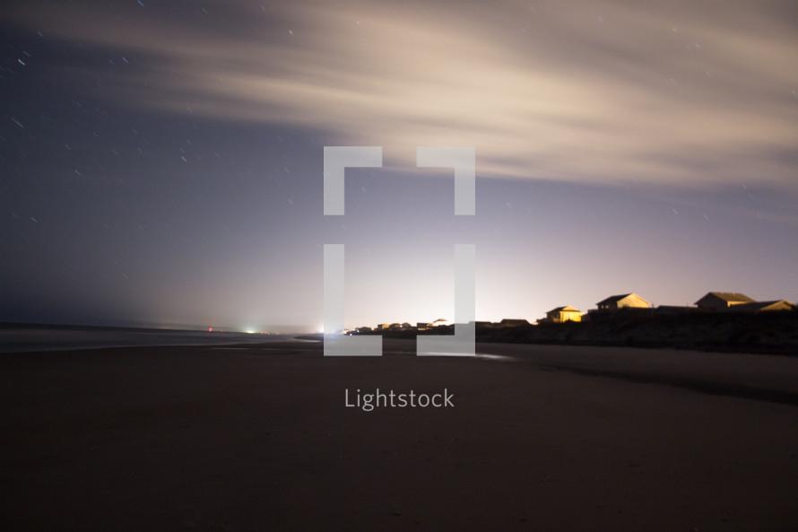 Topsail Beach at night