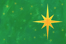 Christmas star on green