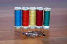 Row of Sewing Threads with Pins