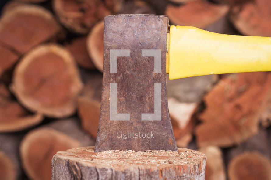 chopping firewood with an axe