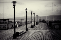 lamps on a pier
